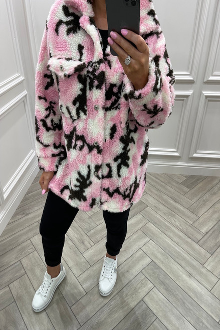 Pink Camo Teddy Coat