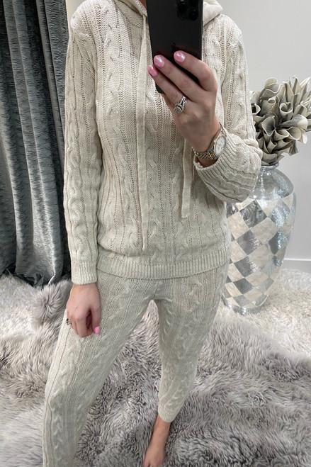 Beige Winter Luxury Cable Knit Loungesuit