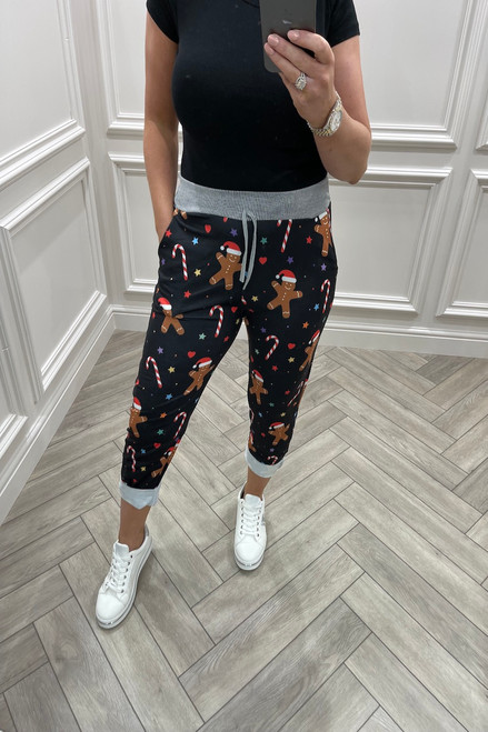 Black Gingerbread  & Candy Cane Christmas Joggers