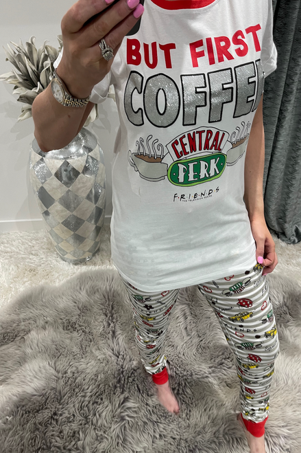 Ladies Friends But First Coffee  PJ'S
