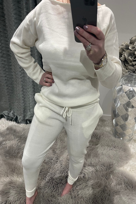 White Cosy Knitted  Loungesuit