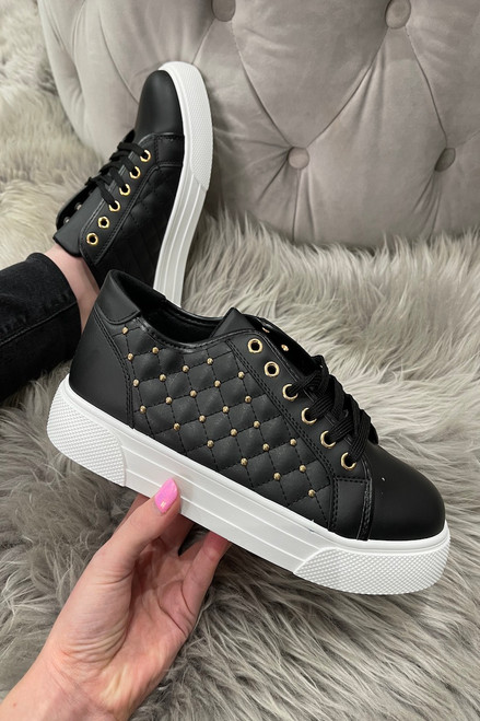 Black Studded Girone Trainers