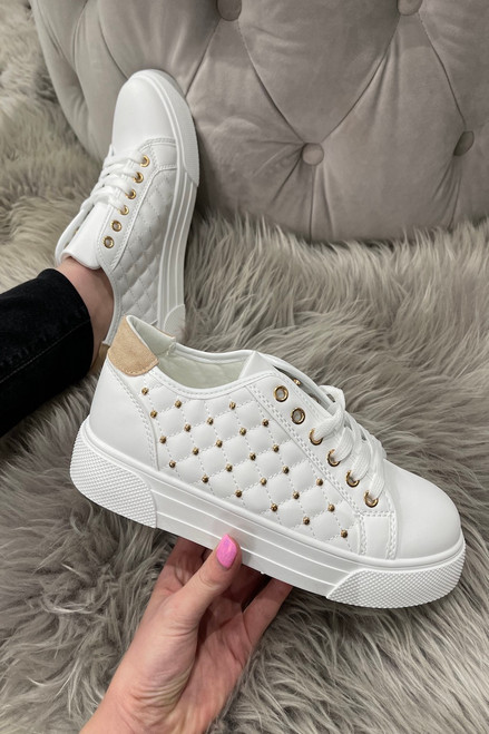 White Studded Girone Trainers