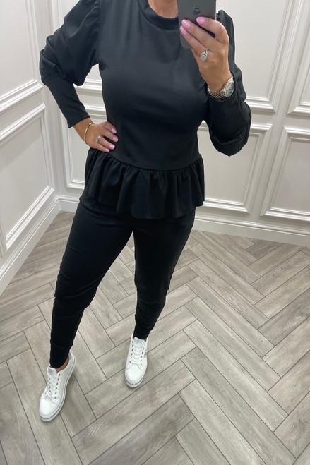 Black Liliaana Peplum Loungesuit