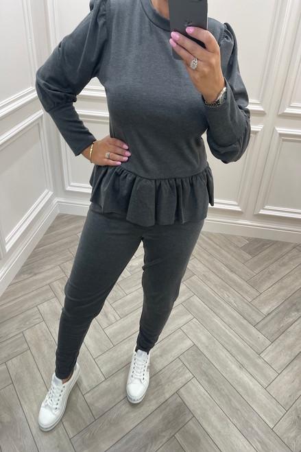 Charcoal Liliaana Peplum Loungesuit