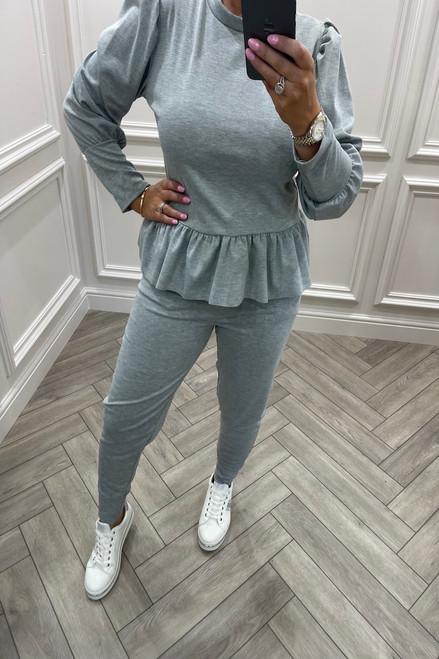 Grey Liliaana Peplum Loungesuit