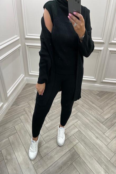 Black Royal 3 Piece Cable Knit Loungesuit