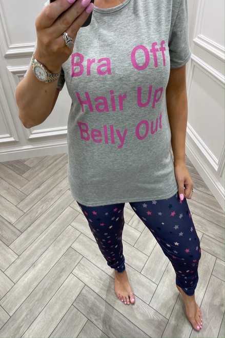 Grey Bra Off, Hair up, Belly Out  Pj's