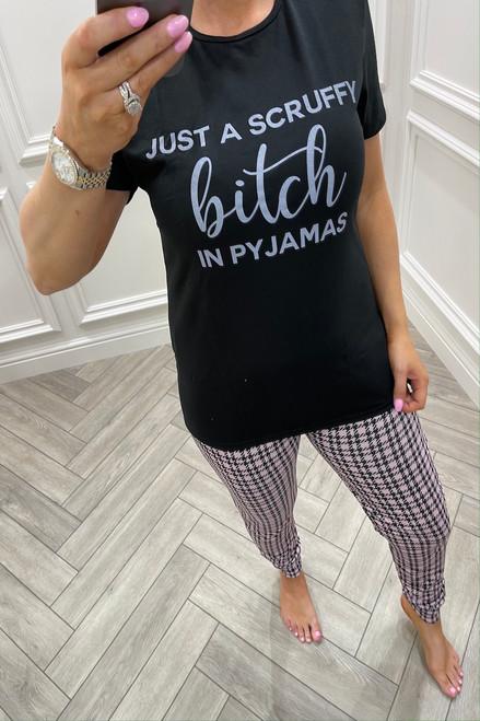 Pink Just a Scruffy Bitch In Pyjama's  Pj's