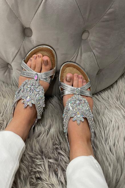 Silver Orson Flower  Diamond Sandals