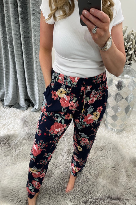 Camille Navy Floral Trousers
