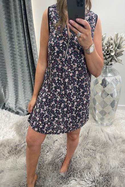 Denim Amelia  Zip Floral Tunic Dress