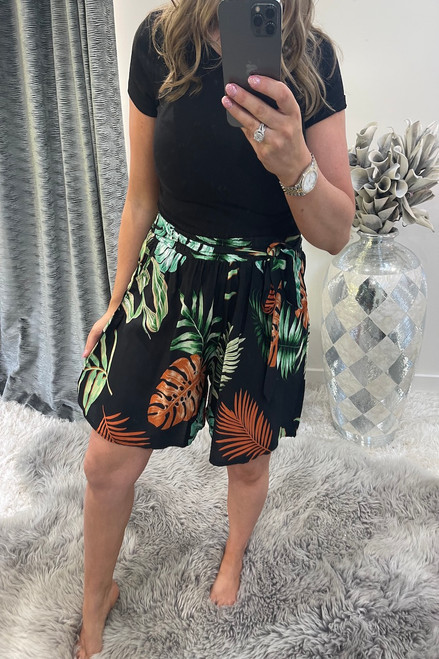 Marisol Black Floral Shorts
