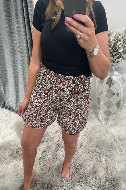 Cherrie Black Floral Shorts