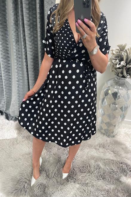 Polka Dot 3/4 Sleeve Wrap Skater Dress