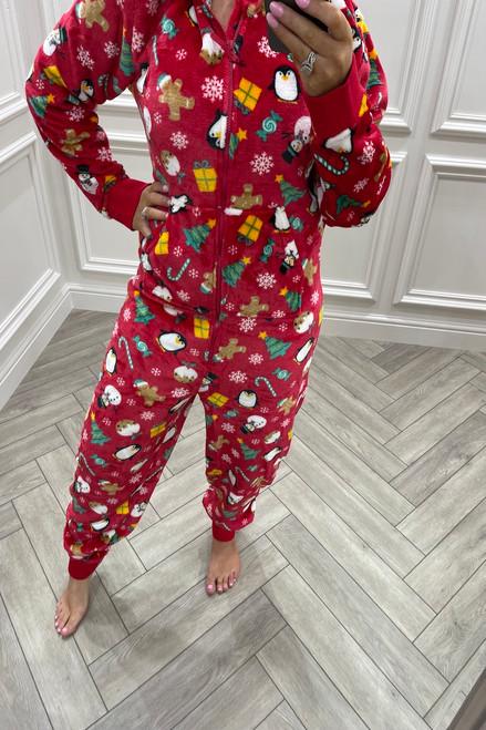 Red Christmas Pattern Onesie