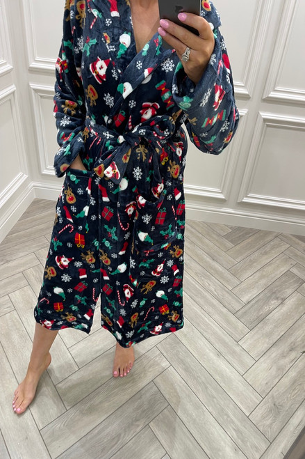Navy Christmas Pattern dressing Gown