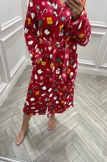 Red Christmas Pattern dressing Gown