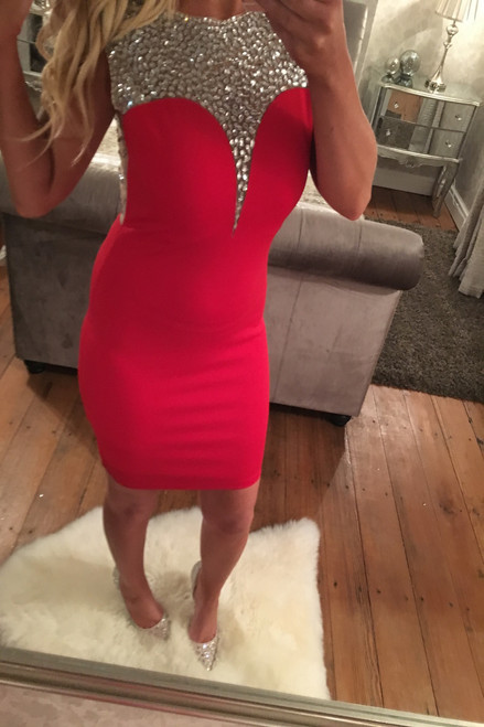 Lux Red Estee Diamond Embellished Bodycon Dress