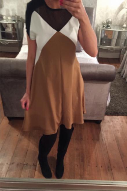 Beige Colour Block Mesh Swing Dress