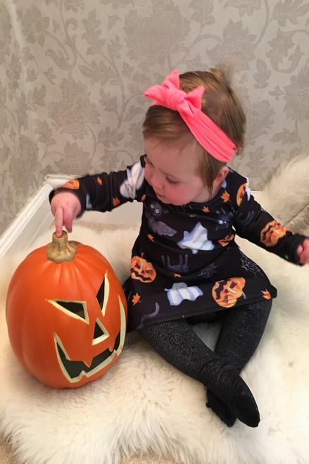 Children's Black Celebration Halloween Swing Dress