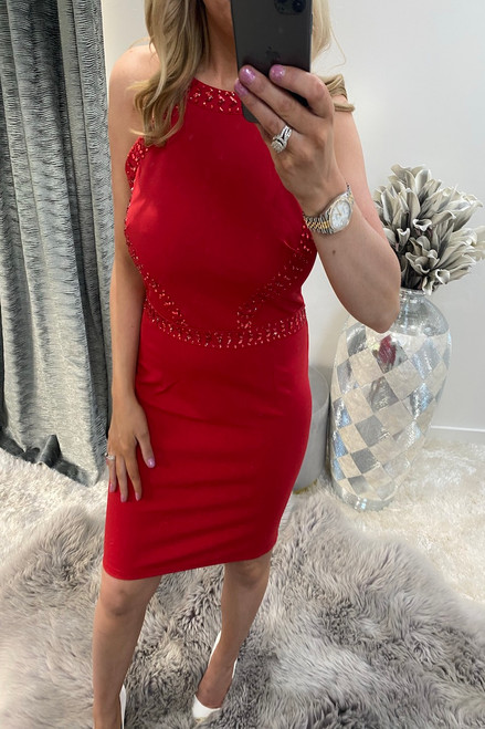 Lux Maya Red Diamond Bodycon Dress