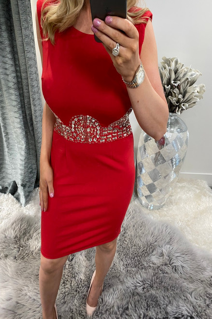Lux Hayley Red Diamond Bodycon Dress