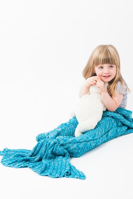 Luxury Ariel Aqua Children's Mermaid Knitted Sleeping Bag