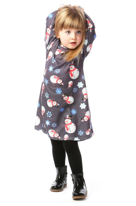 Children's Grey Snowman Swing Dress