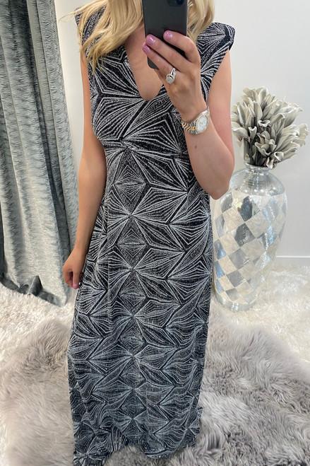 Lenoria Silver Shimmer Maxi Dress