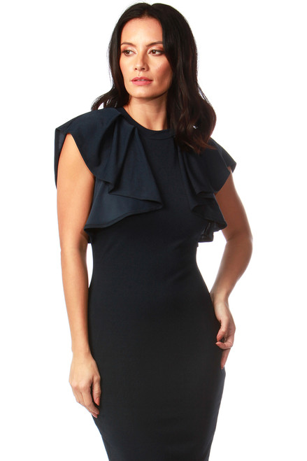 Navy Frill Shoulder Midi Dress