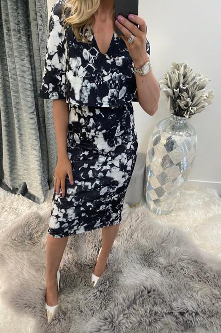 Evelyn Black Floral Fiona Bodycon Dress