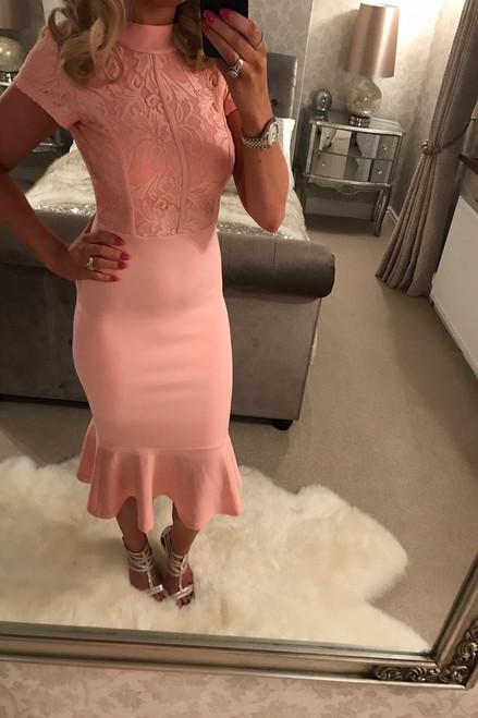 Pink Fishtail Hem Peplum Dress
