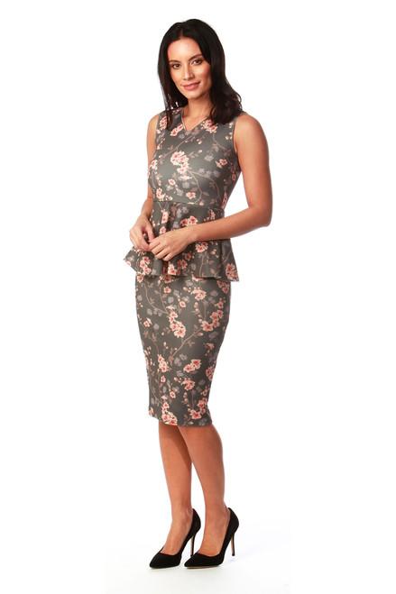Katie Floral Peplum Bodycon Dress