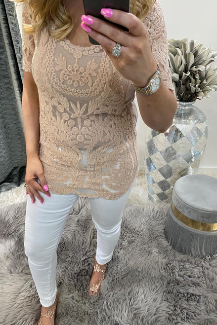 Nude Kennedi Crochet Top with Camisole