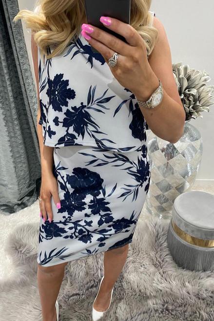 Celine Blue & Cream Overlay Bodycon