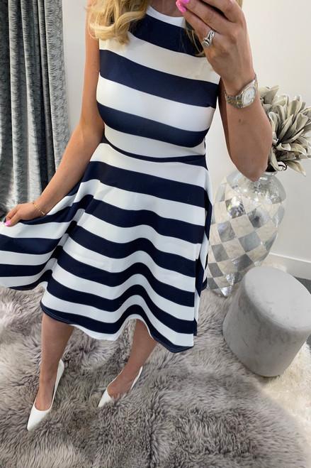 Kady Navy Stripe Skater Dress