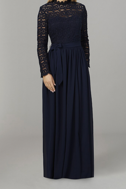 Navy Crochet Maxi Dress