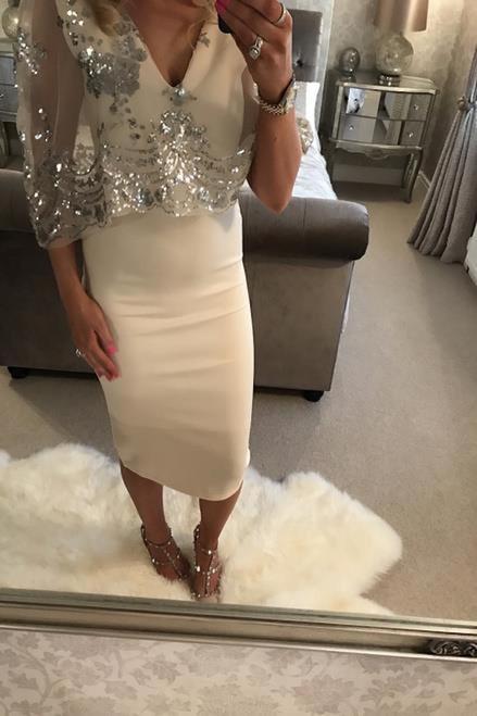 Nude Silver Sequin Overlay Fiona Bodycon Dress