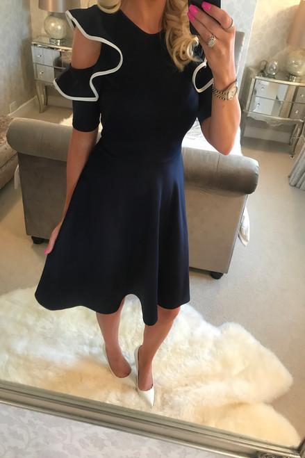 Anya Navy Ruffle Shoulder Skater Dress