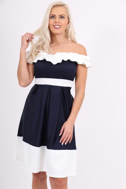 Navy & White Off Shoulder Ruffle Skater Dress