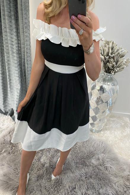Black & White Off Shoulder Ruffle Skater Dress