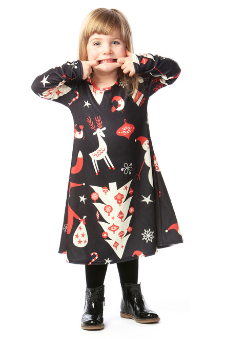 Vintage Multi Pattern Children's Christmas Swing Dress