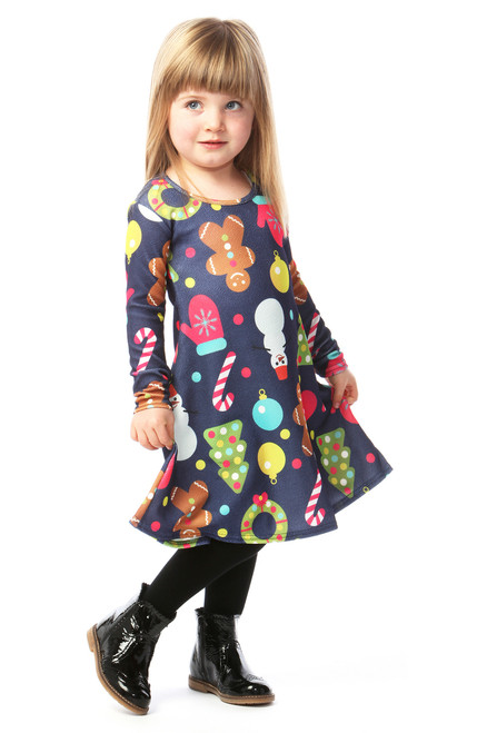 Navy Decoration Children's Christmas Swing Dress
