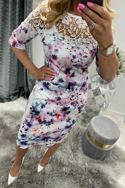 Zinnia Lace Floral Bodycon Dress