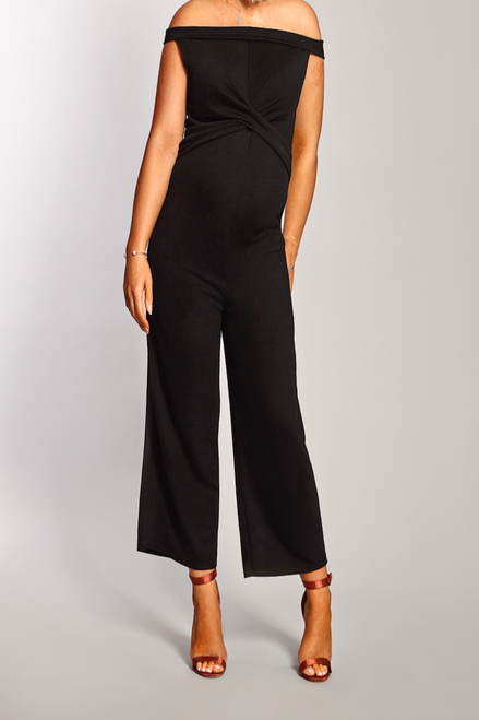 Maternity Black Twist Front Bardot Culotte Jumpsuit