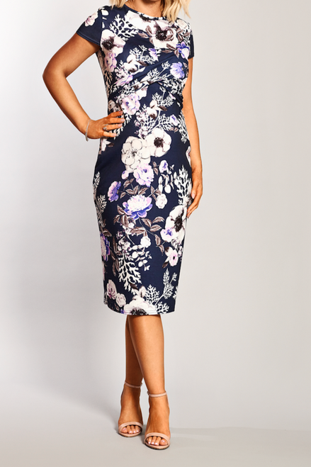 Maternity Cap Sleeve Twist Front Detailed Floral Midi Dress