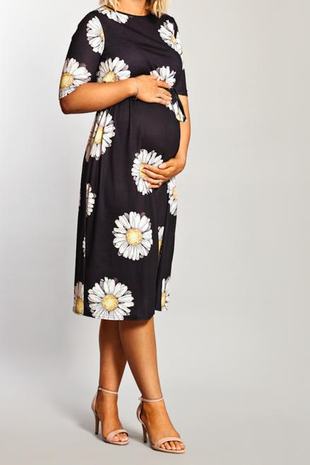 Maternity Black Daisy Printed Belted Midi Dress
