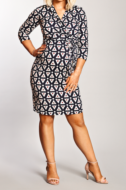 Maternity Geometric Tile Detail Wrap Dress