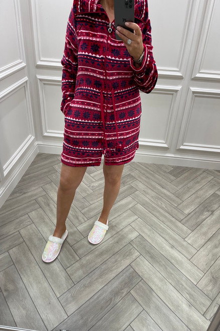 Red Geometric Dressing Gown